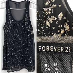 Forever 21 Black sheer tank. Sequence and beads